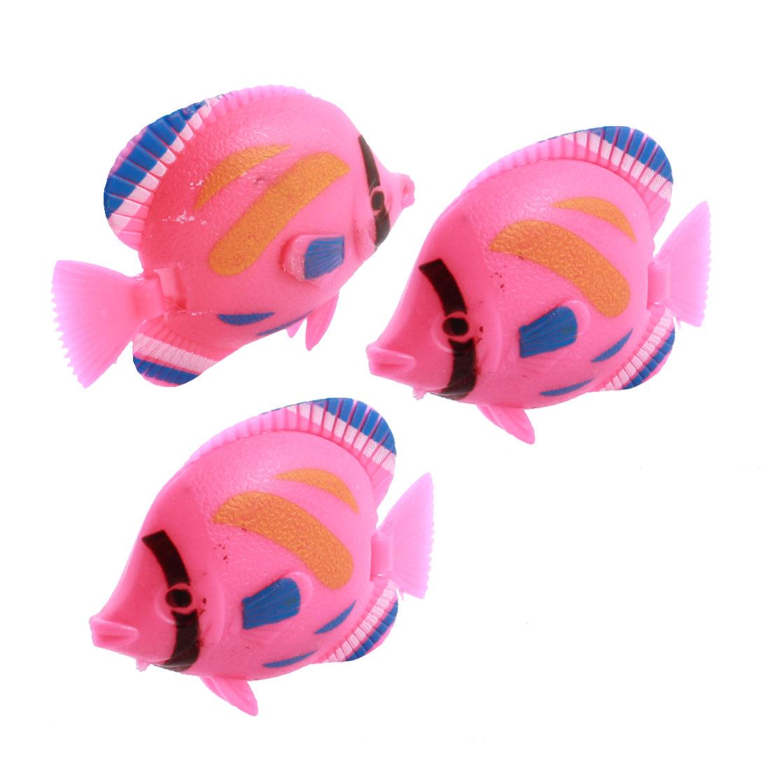 3pcs Movable Tail Plastic Tropical Fish Decoration Pink for Aquarium