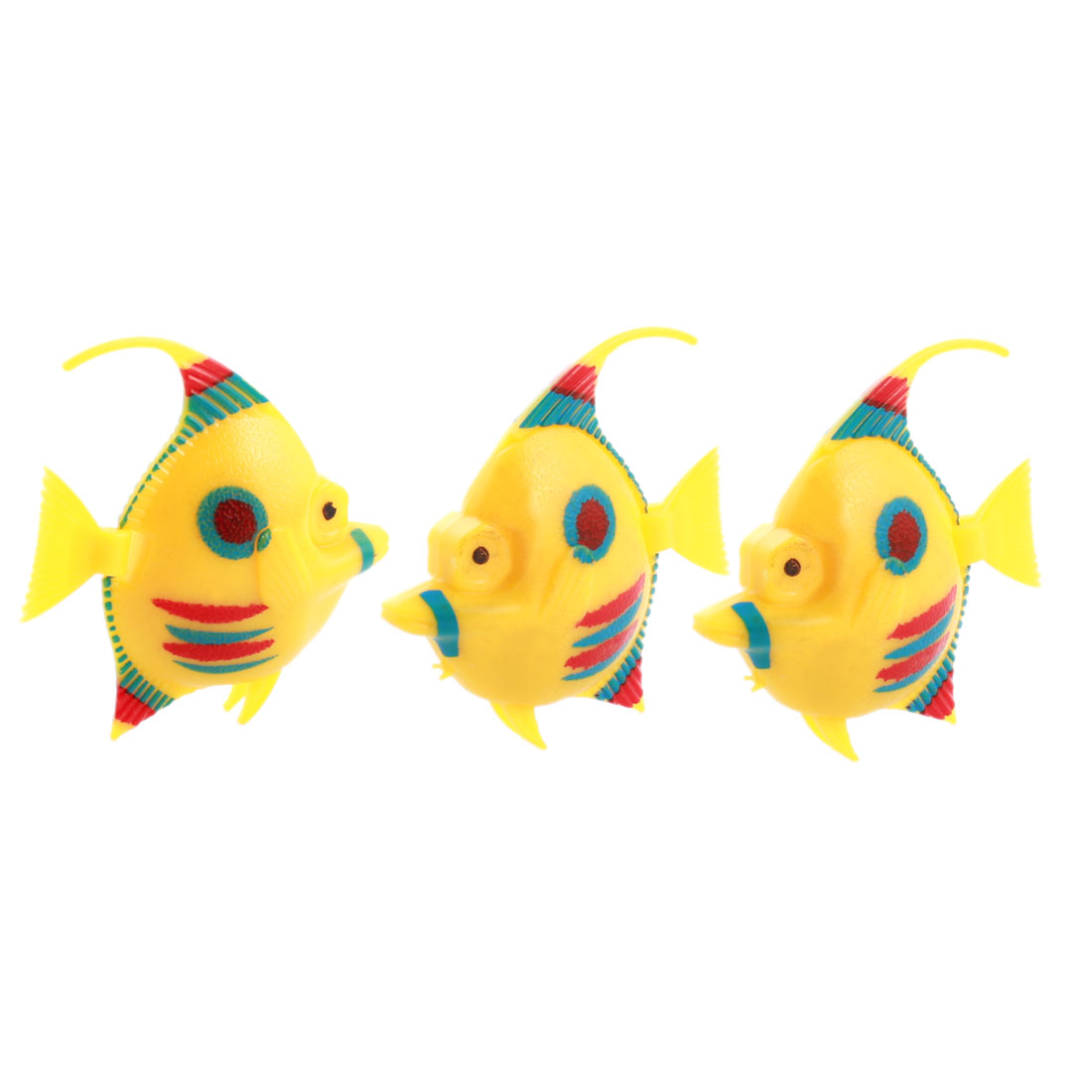 3 Pcs Aquarium Manmade Wiggly Tail Swimming Fishes Decor Yellow