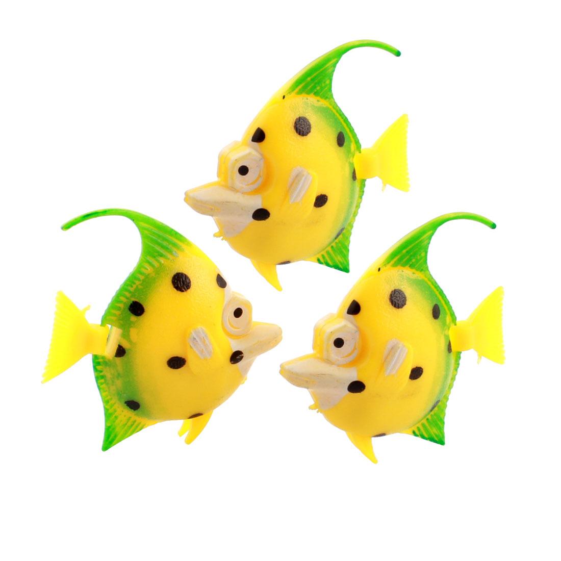 3 Pcs Aquarium Manmade Wiggly Tail Swimming Fishes Decor Yellow Green