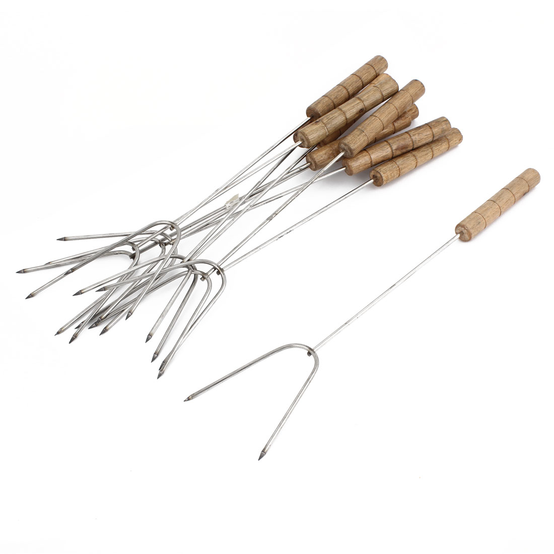 Outdoor Wooden Handle Metal Shaft Barbecue Tool BBQ Forks 10 Pcs