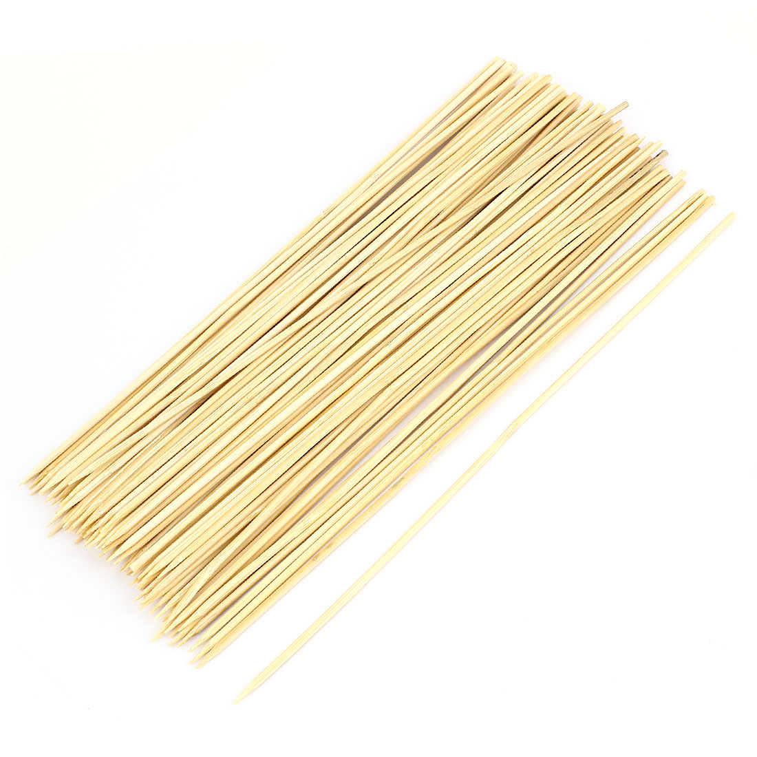 Outdoor 30cm Beige Wooden BBQ Hot Dog Needle Barbecue Stick 90 Pcs
