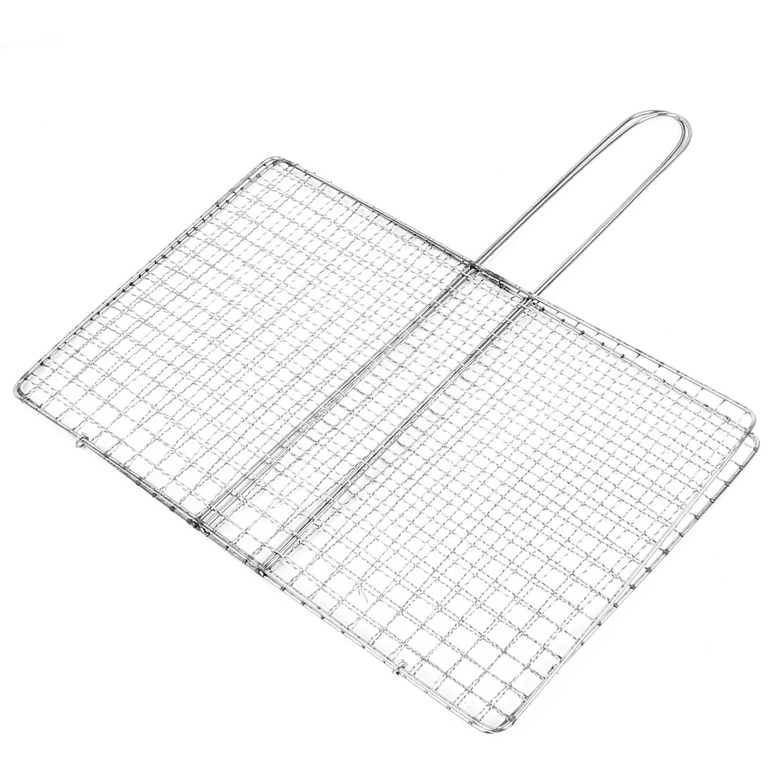Picnic Metal Square Holes Grill Netting Basket Barbecue Tool 35 x 22cm