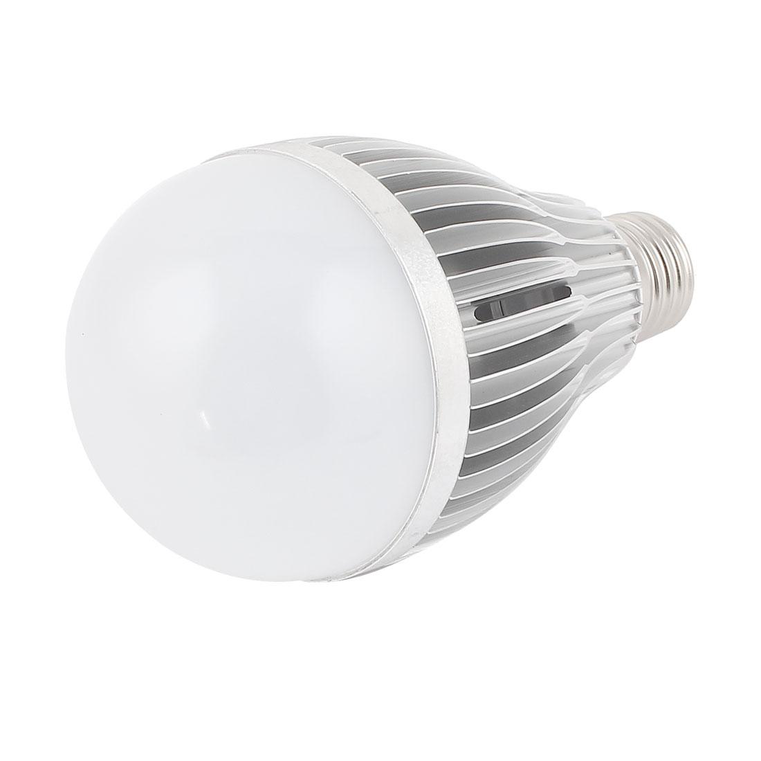 12W Silver Tone E27 80mm Dia Globe Ball Bulb Lamp Shell LED Aluminum Heatsink
