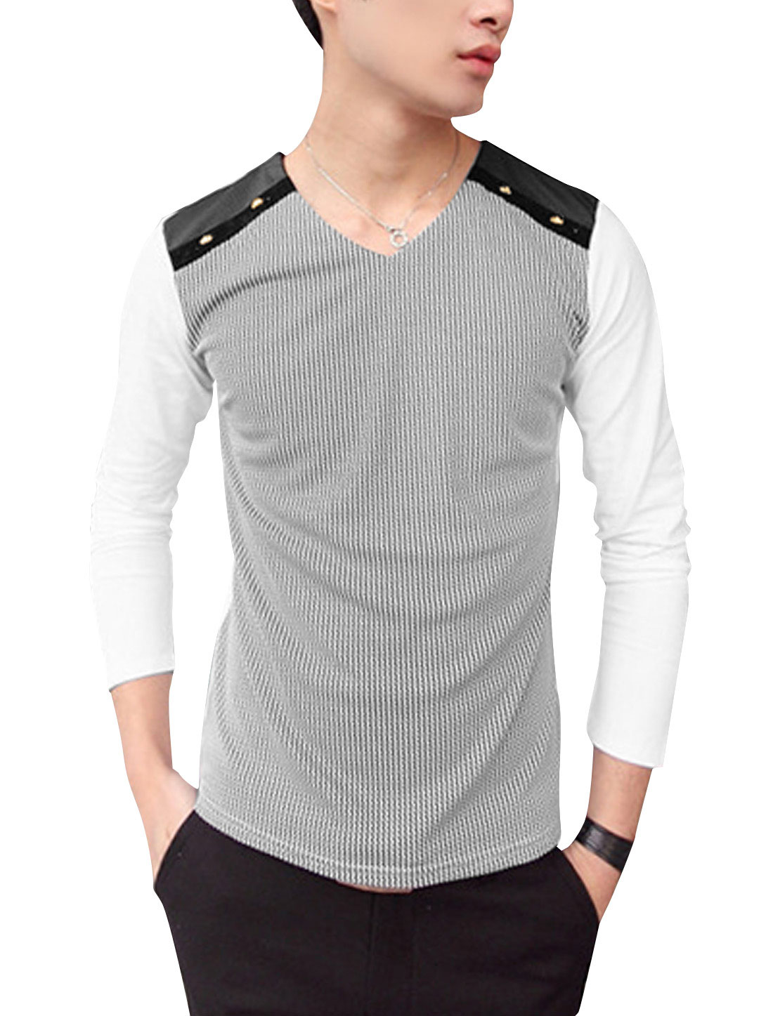Men V-Neck Long Sleeved Patched Detail Stripes Leisure Shirt White S