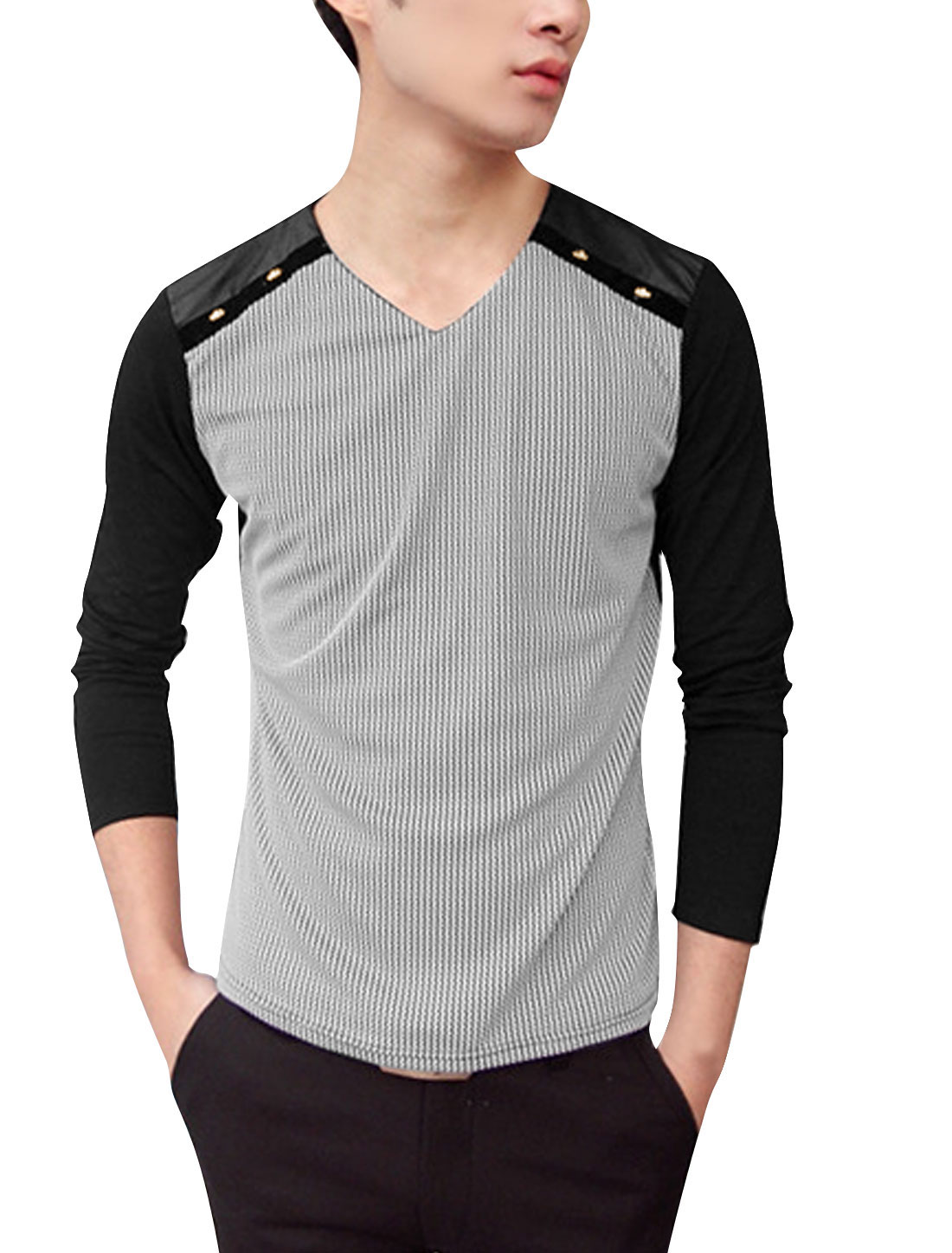 Men Contrast Long Sleeves Patched Detail Stripes Leisure Shirt Black S