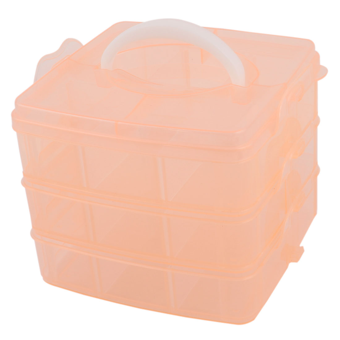 Coral Pink Plastic 3 Layers 18 Detachable Compartments Hand Carry Comestic Storage Box Case
