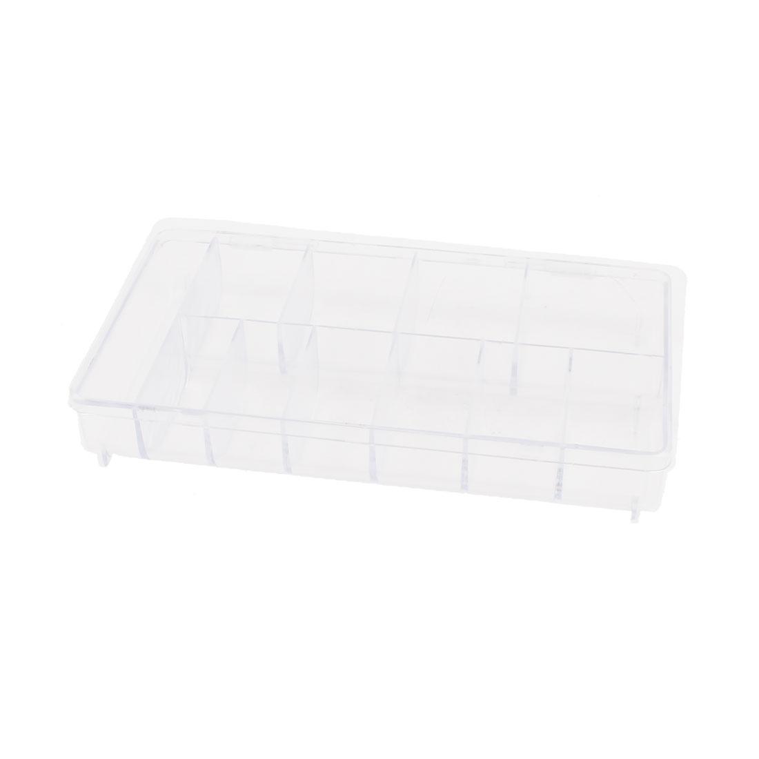 Clear White Plastic Rectangle Design 11 Compartments Comestics Storage Case 20 x 11 x 3.5cm