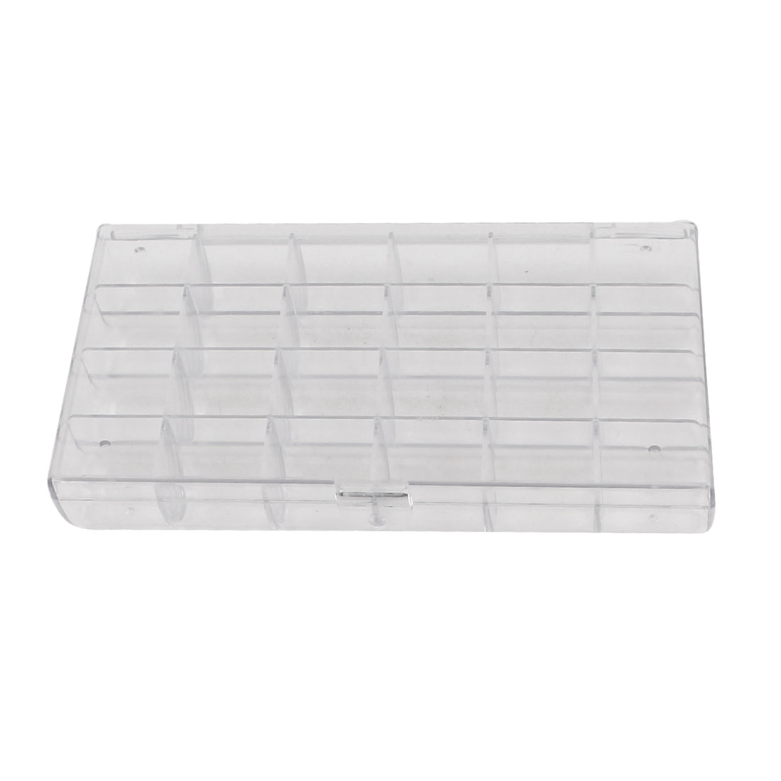 Clear White Plastic Rectangle Shaped 24 Compartments Earrings Jewelry Components Storage Box Case