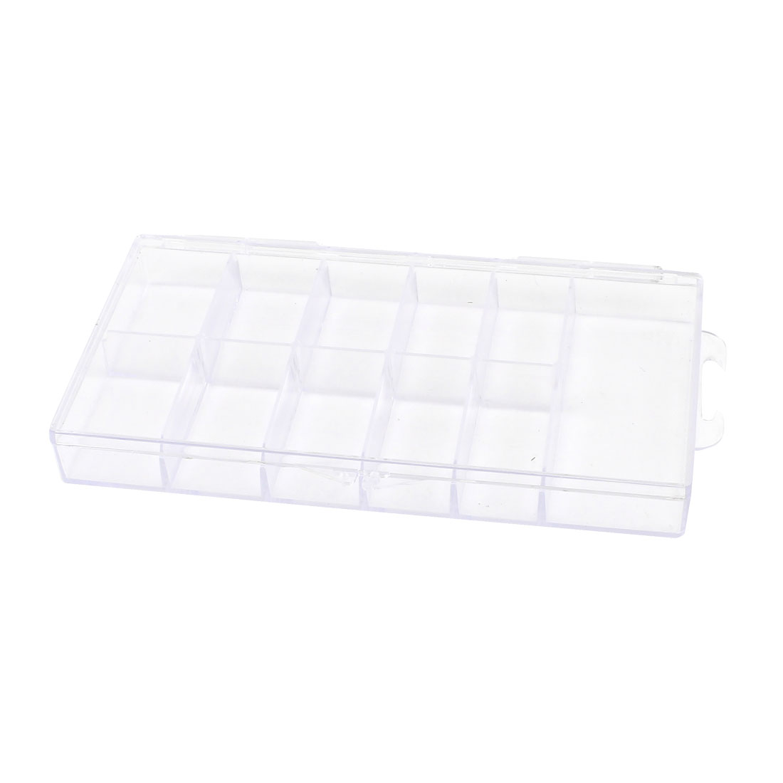 Clear White Plastic 11 Compartments Comestics Storage Box Case 14.7 x 7.7 x 1.8cm