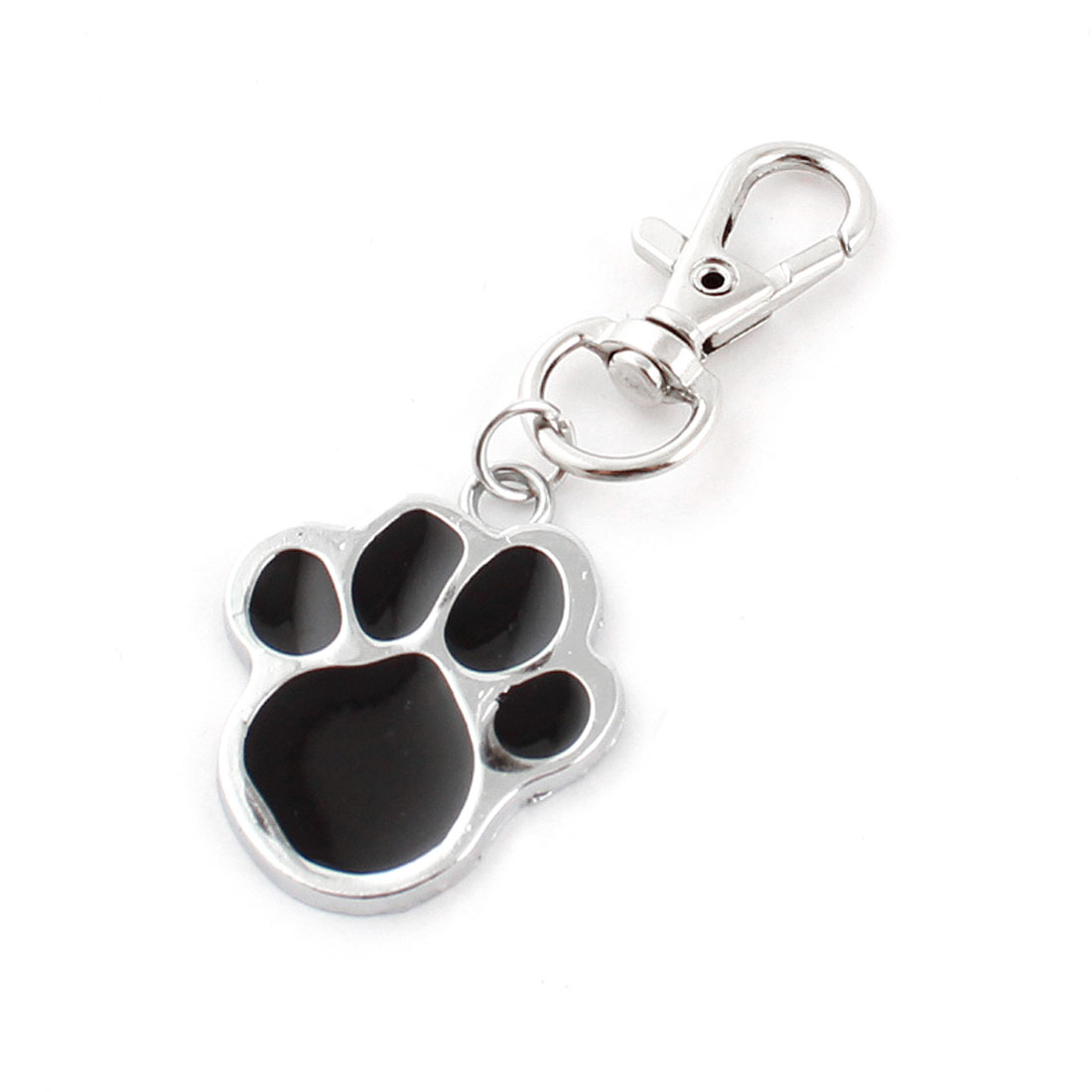 Metal Pawprint Shape Lobster Clasp Pendant Pet Cat Dog Collar ID Tag Black