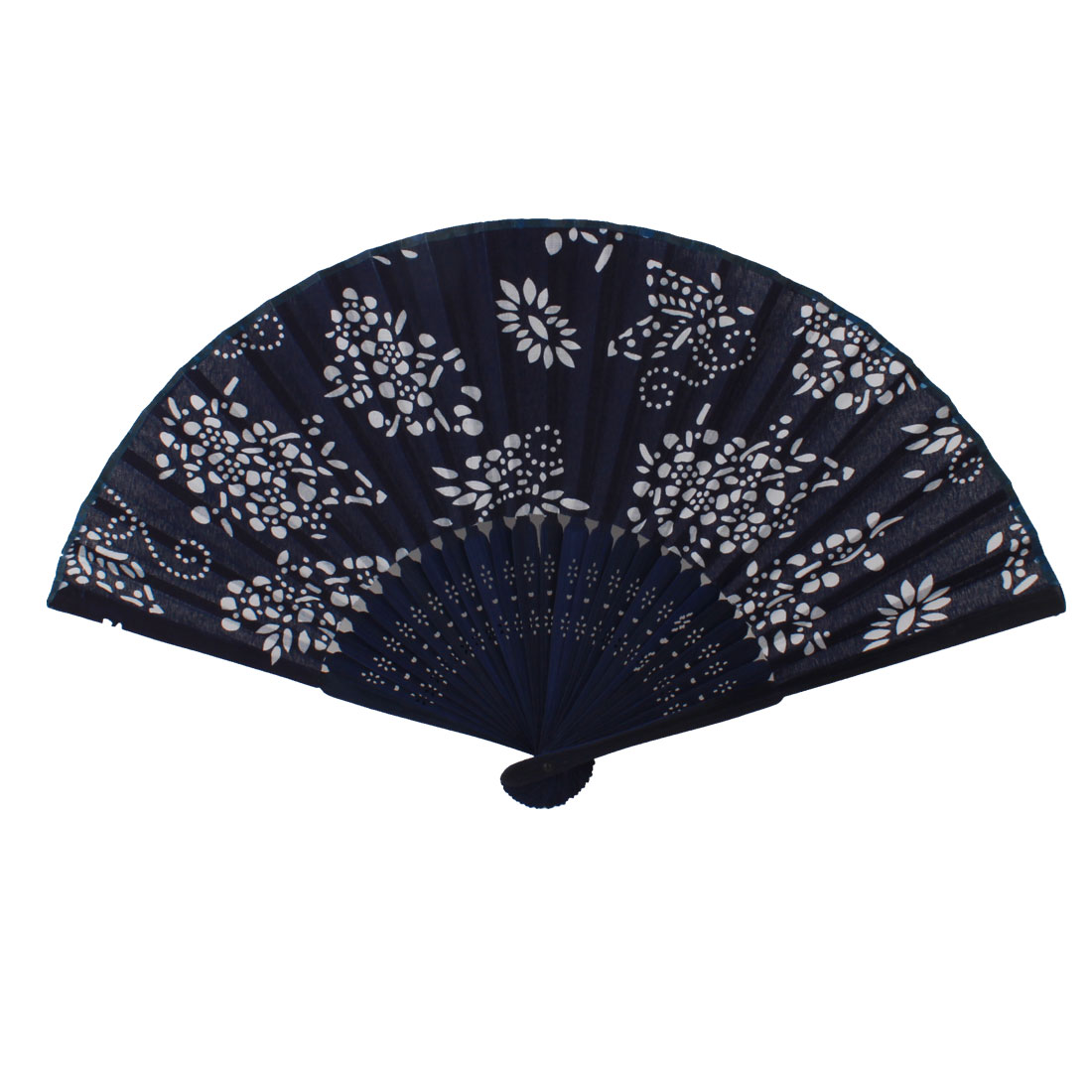 Dark Blue Plastic Frame White Flower Printed Surface Folding Fan