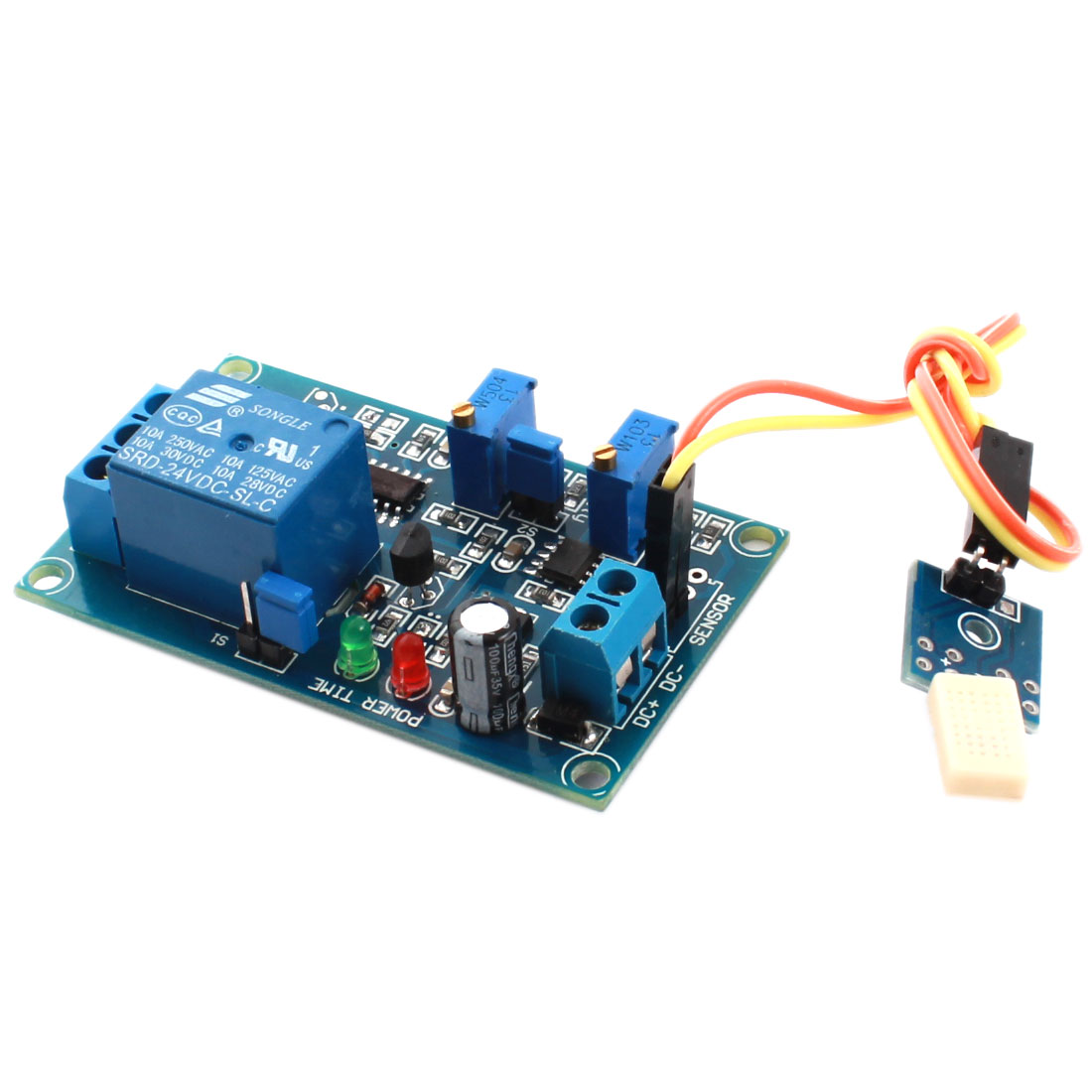 DC24V 2-LED Lamp 1 Way Humidity Sensitivity Sensor Time Delay Relay Module