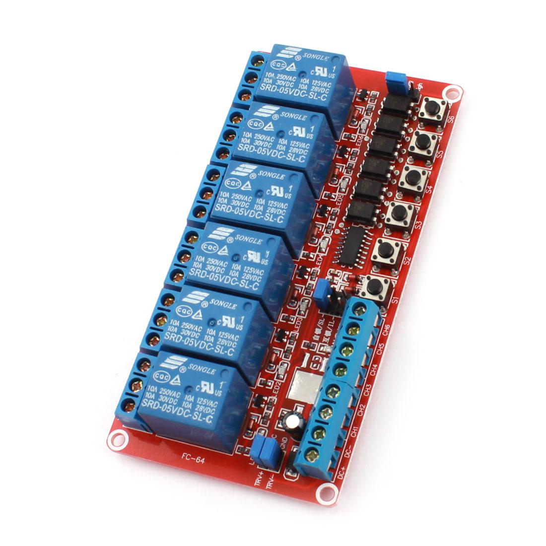 DIY Red 6-Way Self-locking Trigger Relay Expansion Circuit Board Module DC 5V