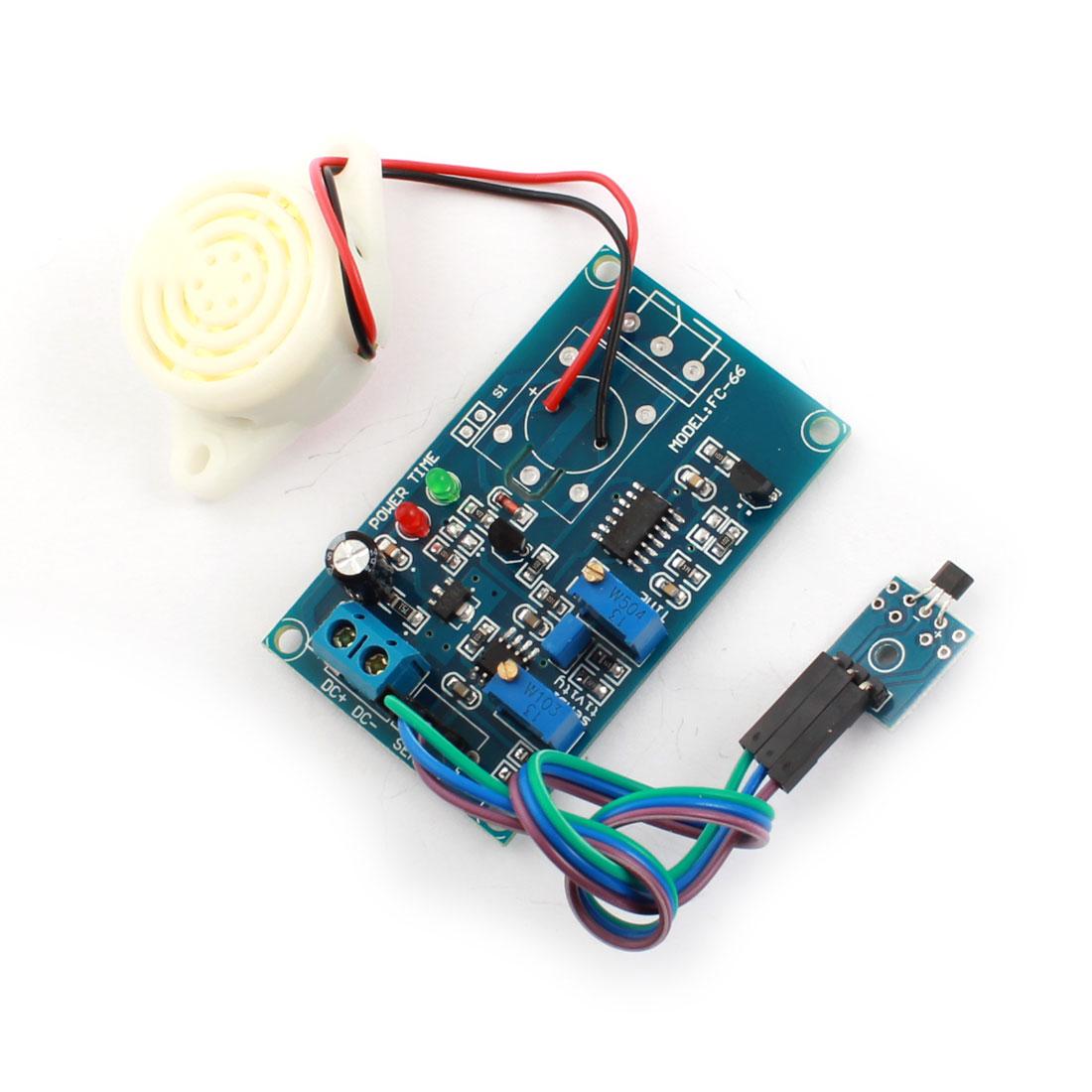 FC-66 DC 24V 20s 200s Hall Effect Sensor No Magnetic Trigger Delay PCB Circuit Module Green w Piezo Buzzer