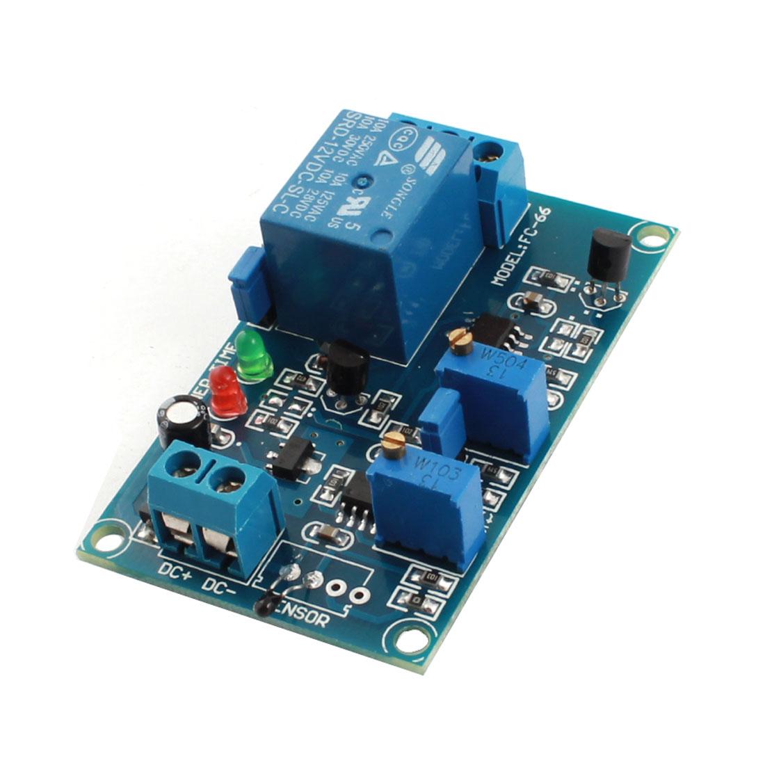FC-66 DC12V 20S Low Temperature Trigger Thermosensitive Sensor Time Delay Relay Circuit Module Green