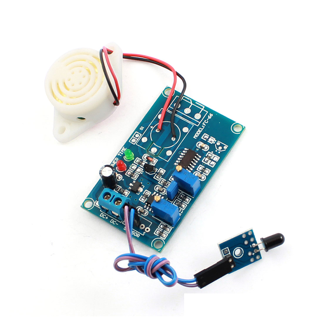 FC-66 DC24V Fire Fighting Light Detection Flame Sensor Infrared Receiver Alarm Buzzer Time Delay Module