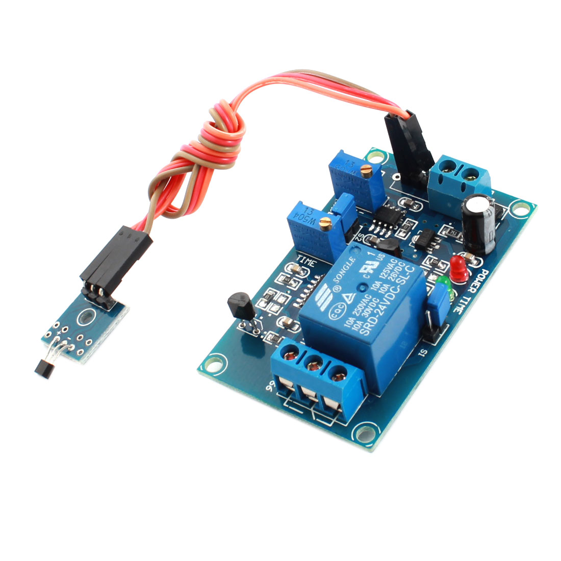 DC 24V 0-20s 1 Channel Hall Effect Sensor Trigger No Magnetic Induct Time Delay Relay Module Green