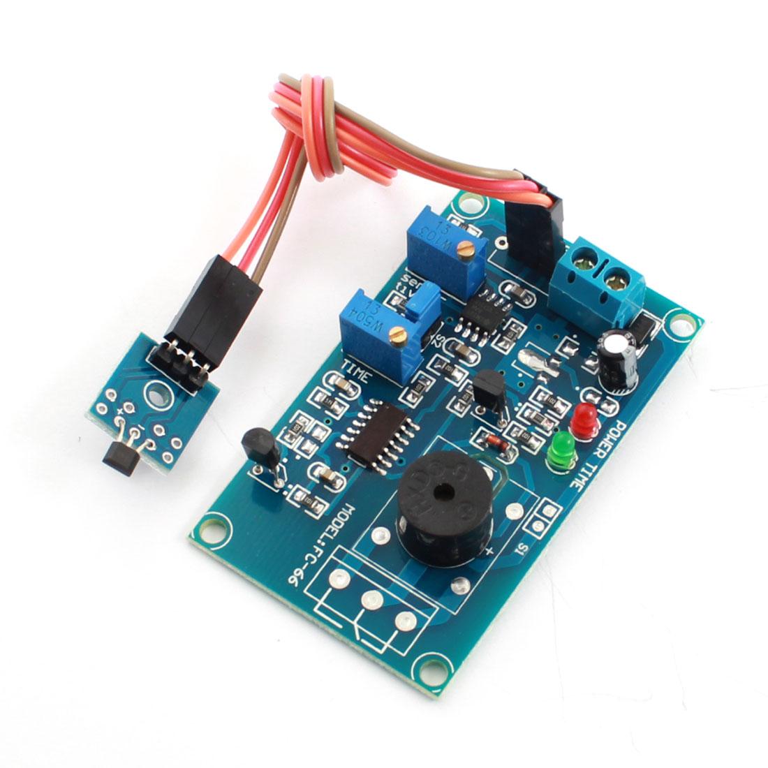 FC-66 DC5V Hall Effect Sensor No Magnetic Trigger Delay PCB Circuit Module Green w Piezo Buzzer