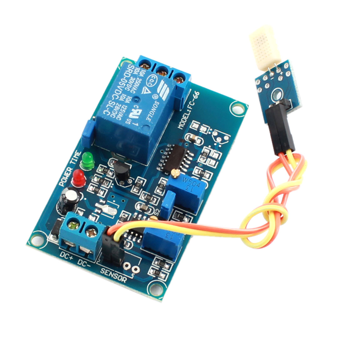 DC5V 0-20s 1 Channel Water Humidity Detection Sensor Time Delay Relay PCB Circuit Module Green