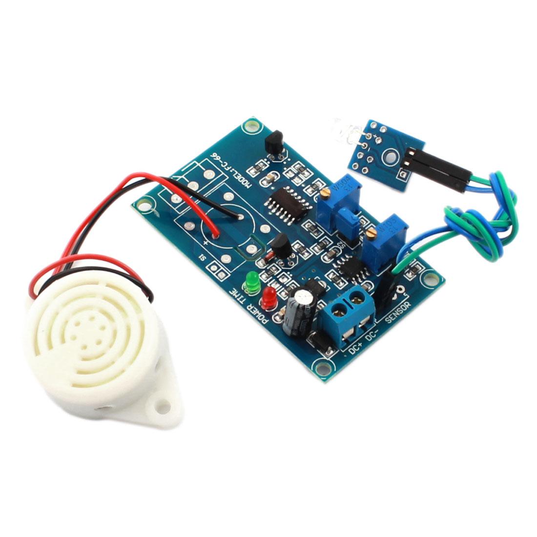 FC-66 DC24V Light Detection Photosensitive Diode Sensor Delay Alarm PCB Circuit Module w Piezo Buzzer