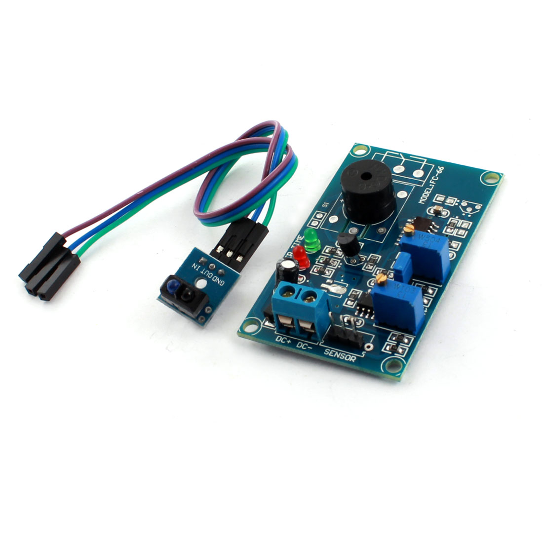 FC-66 TCRT5000 DC 5V 0-20S 0-3cm Infrared Reflection Light Detection Sensor Alarm Buzzer Time Delay Module Green