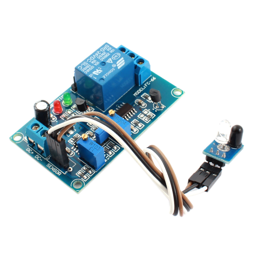 DC24V 1 Channel NO Infrared Reflection Trigger Sensor Light Detection Time Delay Relay Module Green