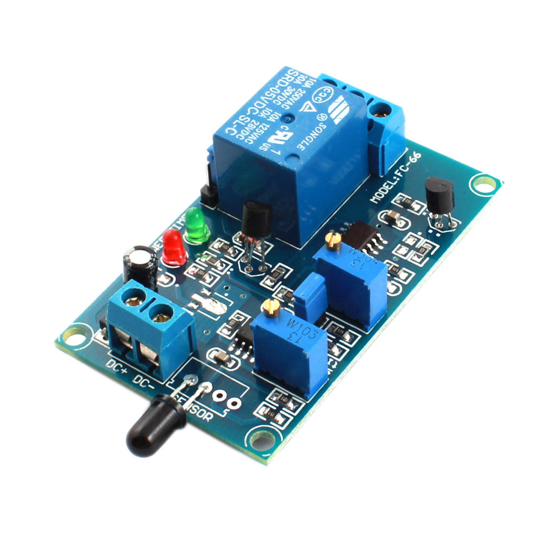 FC-66 DC5V 1 Channel Fire Fighting Flame Detection Sensor Infrared Reciever Delay Relay Module Green