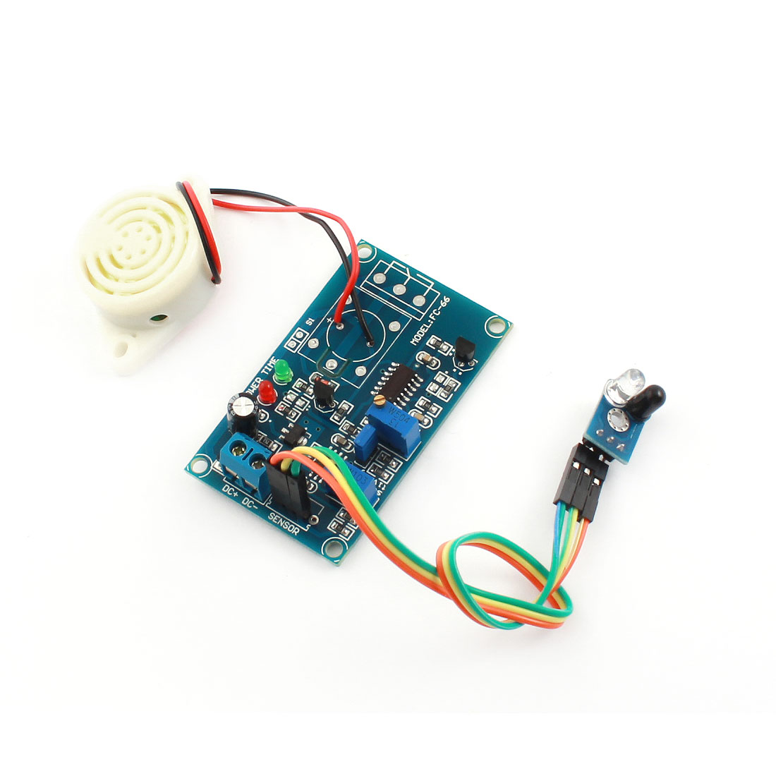 FC-66 DC24V 0-20S No Infrared Reflection Tigger Sensor Delay Alarm PCB Circuit Module Green w Piezo Buzzer