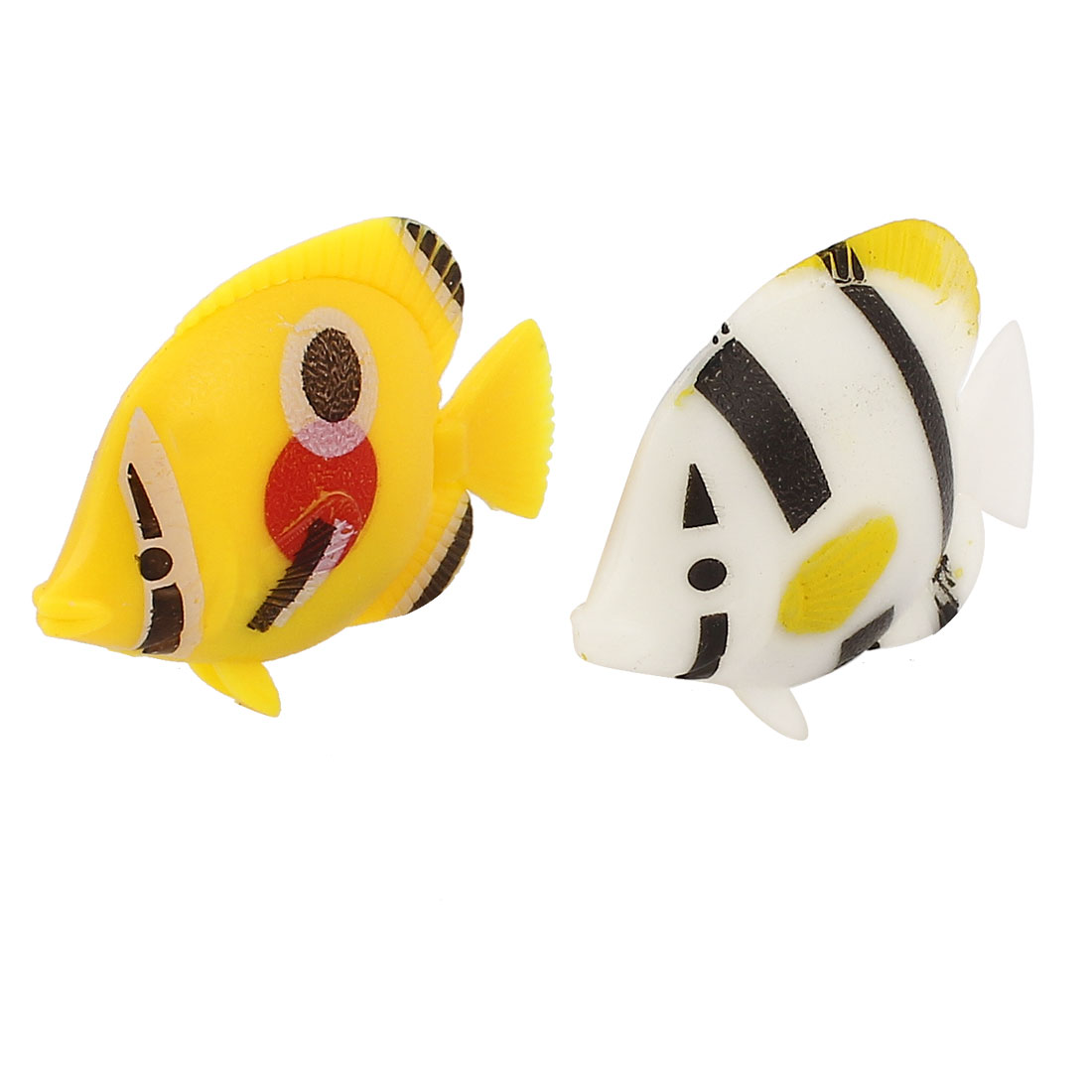 2Pcs Plastic Artificial Swing Tail Floating Fish Aquarium Decor White Yellow