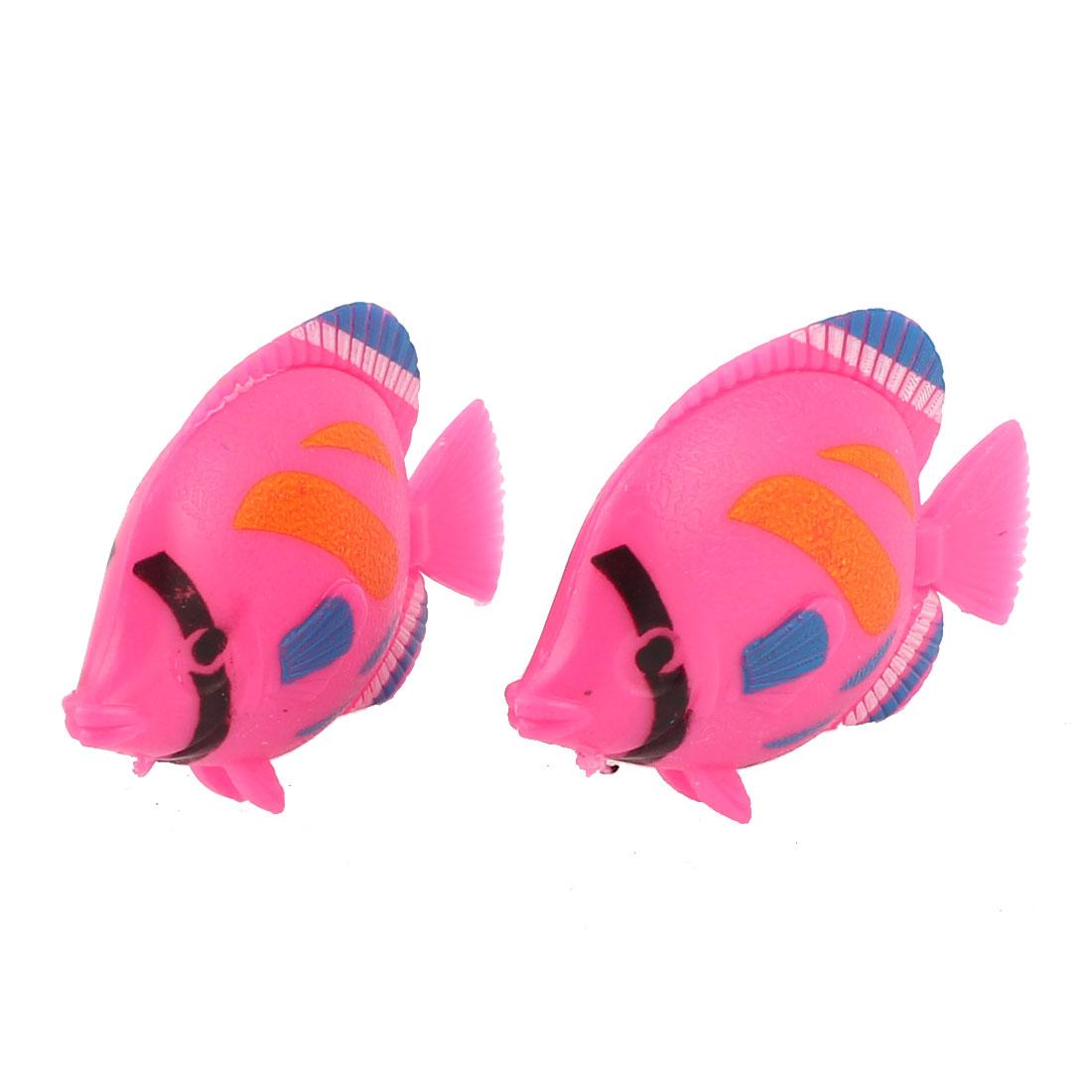 2Pcs Plastic Artificial Swing Tail Floating Fish Aquarium Decor Pink