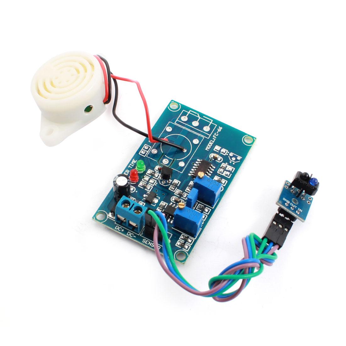 FC-66 TCRT5000 DC24V 0-20S 0-3cm Infrared Reflection Light Detection Sensor Alarm Buzzer Time Delay Module Blue
