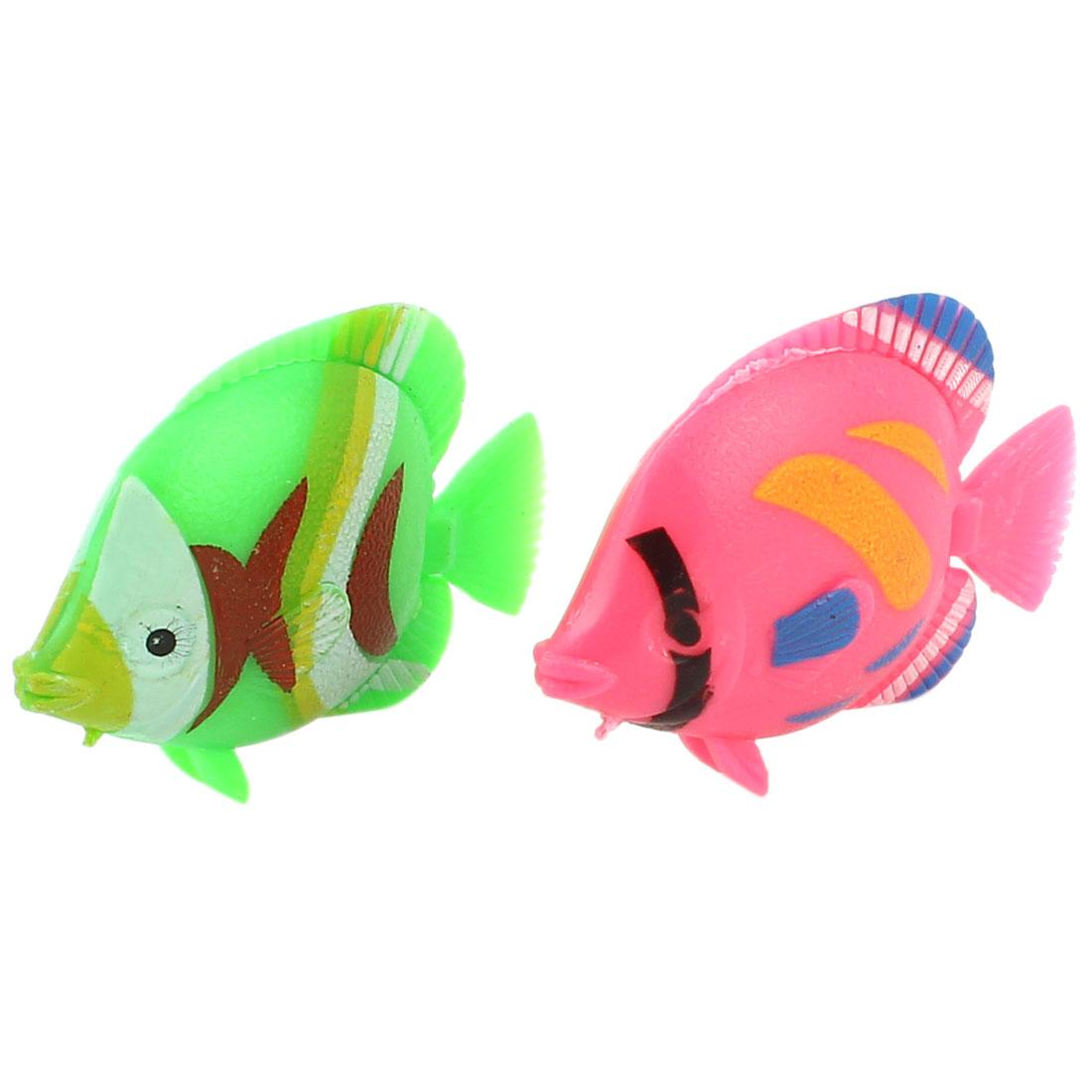 2Pcs Plastic Artificial Swing Tail Floating Fish Aquarium Decor Green Pink