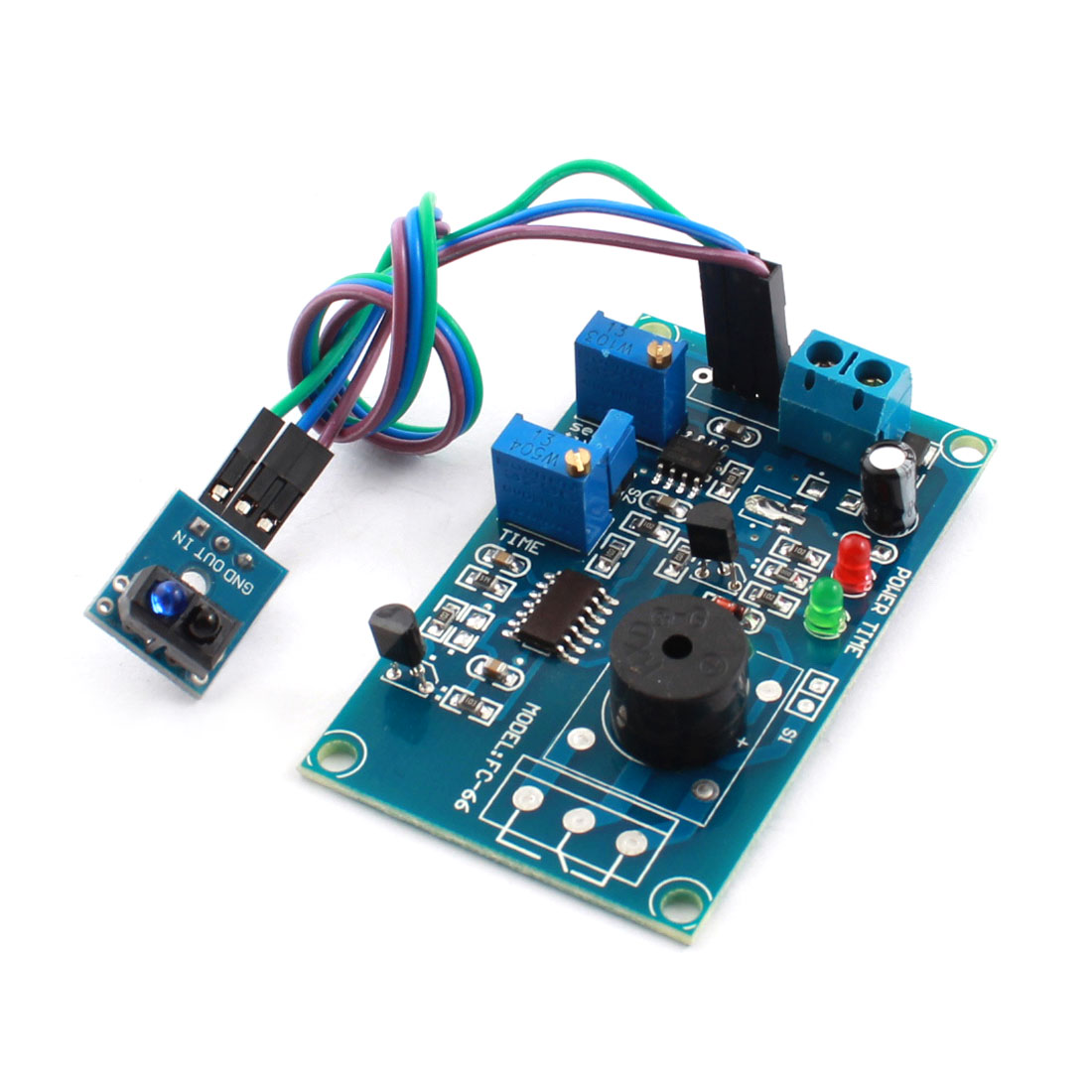 FC-66 DC5V TCRT5000 Infrared Reflection Sensor Alarm Time Delay PCB Circuit Module w Piezo Buzzer