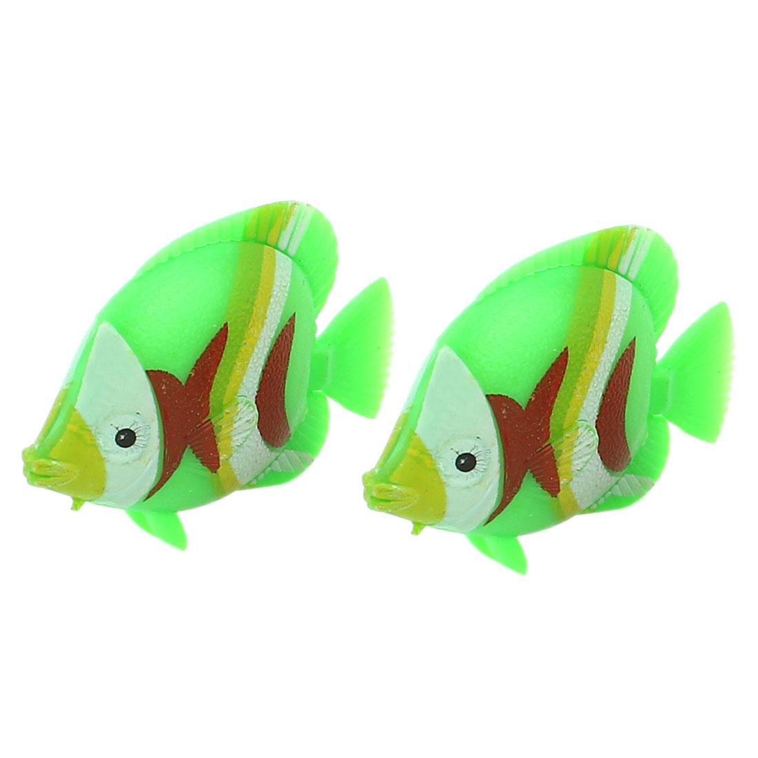 2Pcs Plastic Artificial Swing Tail Floating Fish Aquarium Decor Green