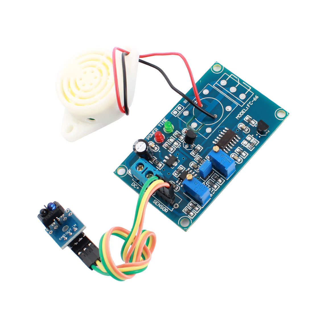 FC-66 DC 24V TCRT5000 Infrared Reflection Sensor Alarm Time Delay PCB Circuit Module w Piezo Buzzer