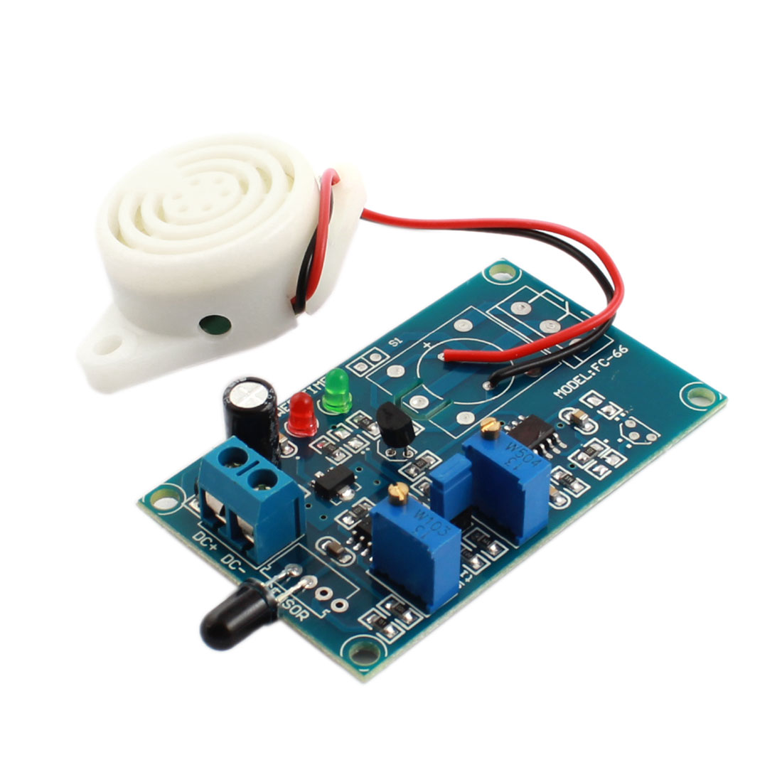 FC-66 DC 24V Fire Fighting Flame Detection Sensor Infrared Reciever Buzzer Alarm Time Delay Module