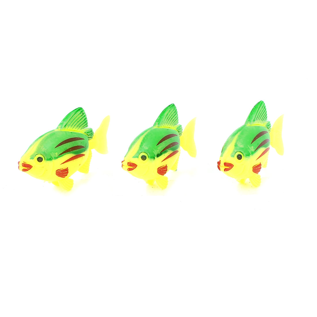 3Pcs Plastic Artificial Swing Tail Floating Fish Aquarium Decor Yellow Green