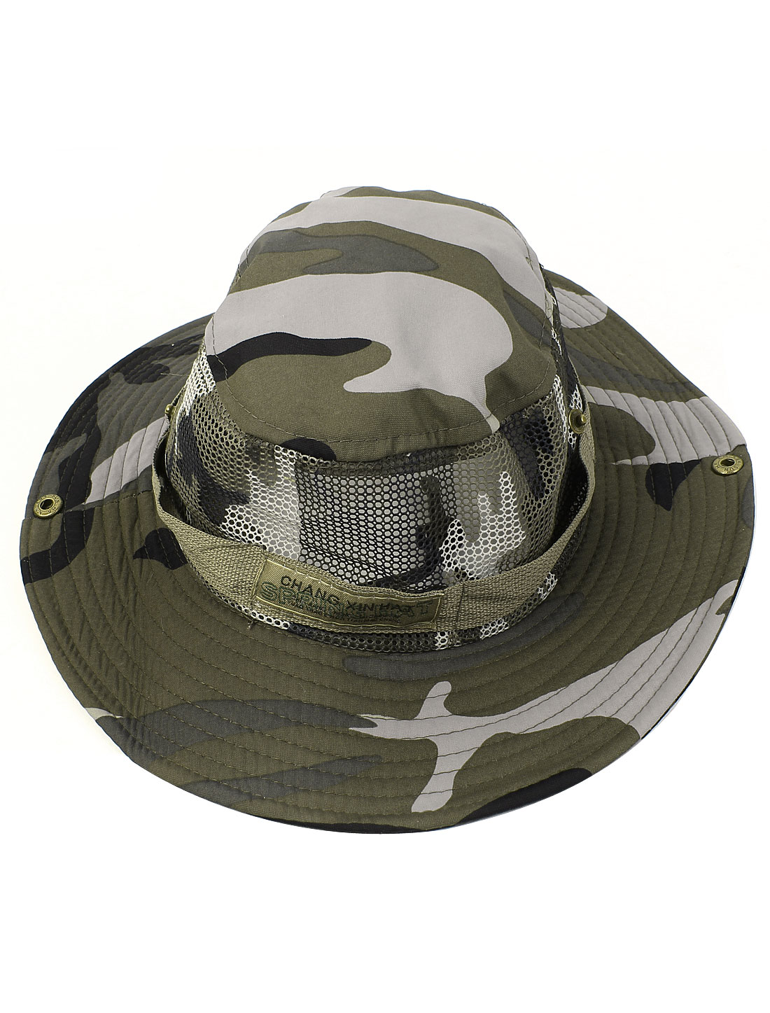 Army Green Camouflage Pattern Round Brim Mesh Bucket Hiking Outdoor Sports Sun Hat Cap for Man