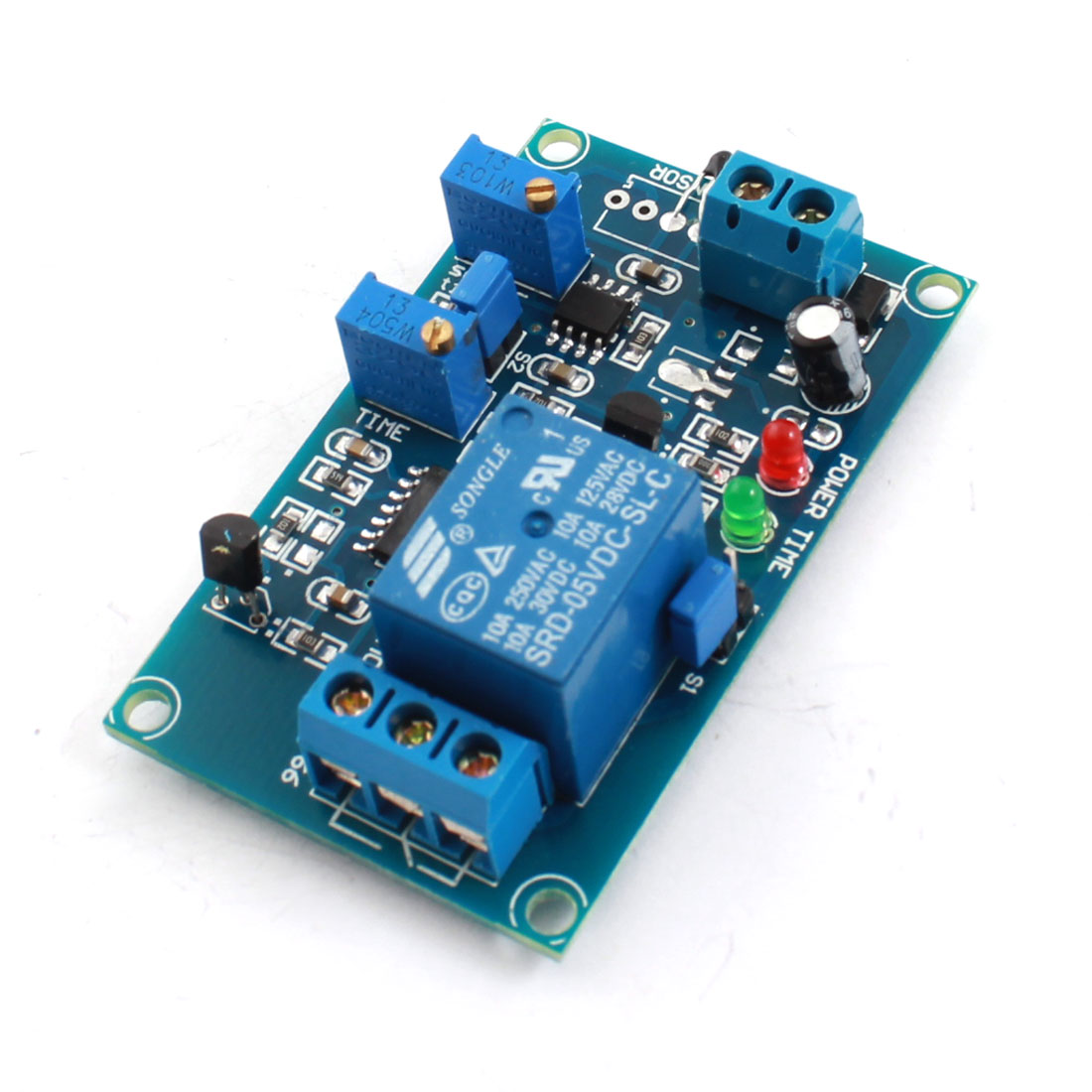 DC5V 2-LED Lamp 1 Way Low Temperature Trigger Thermosensitive Time Delay PCB Board Relay Module Blue
