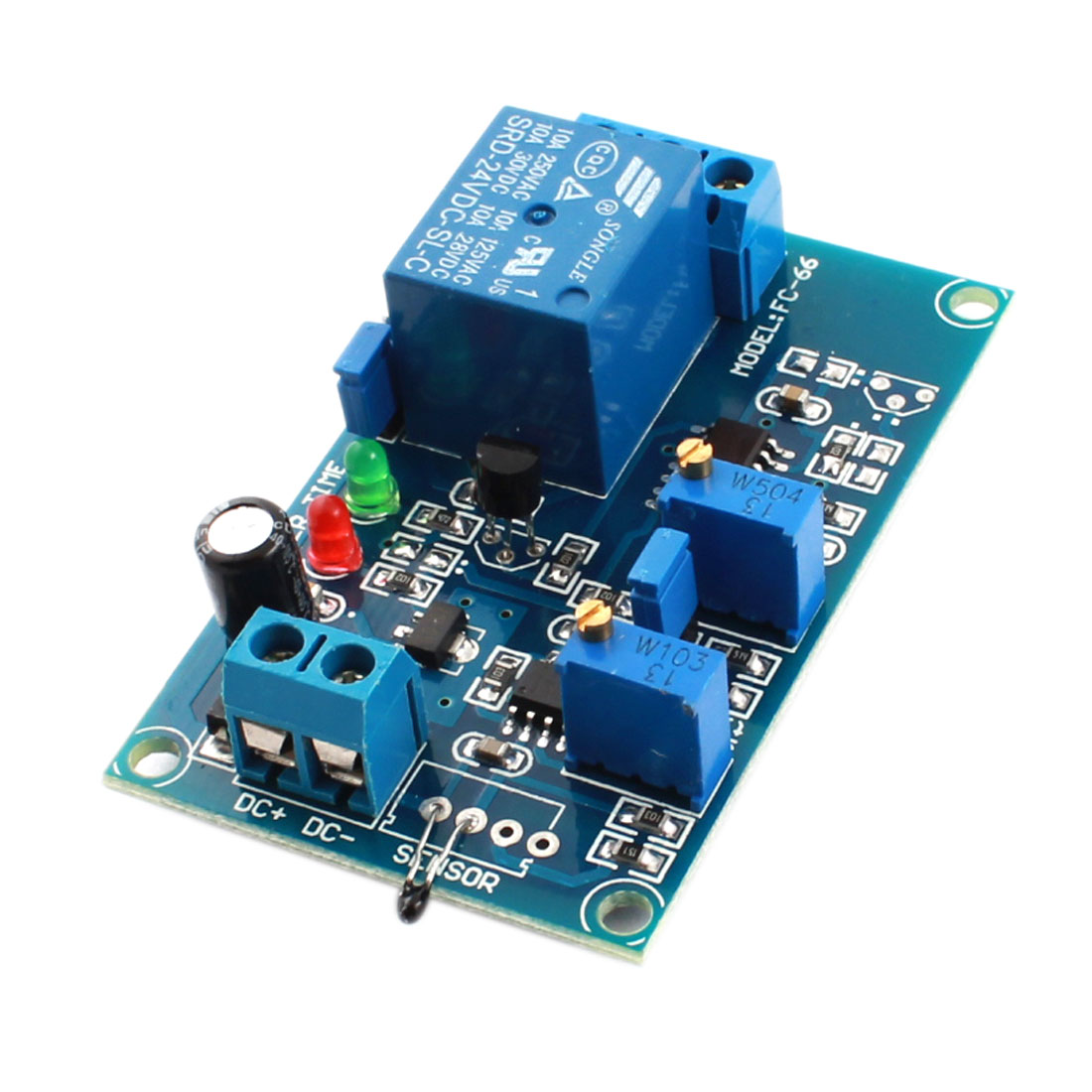 FC-66 DC 24V 0-20S 1 Channel High Temperature Trigger Thermal Sensor Time Delay PCB Circuit Relay Module Green