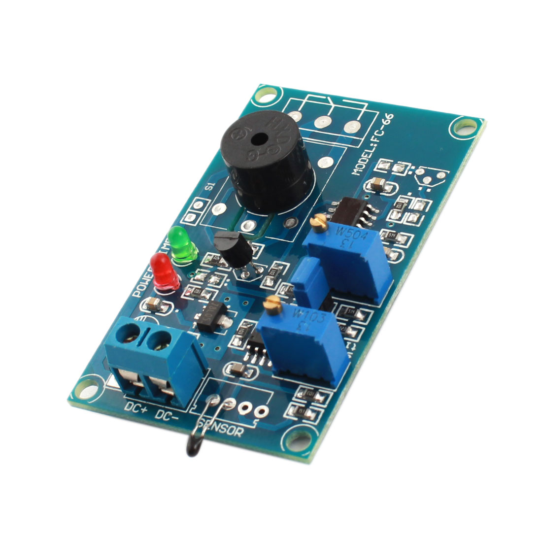 FC-66 DC 12V 0-20S Temperature Detection Thermistor Sensor Alarm Buzzer Time Delay PCB Circuit Module Green