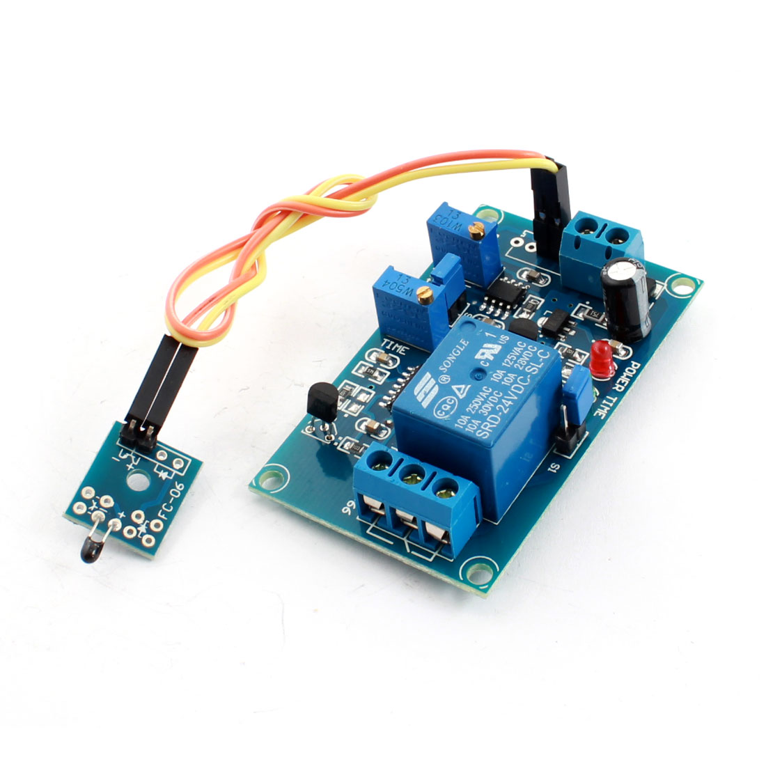 DC 24V 1CH 0-20s Low Temperature Trigger Thermosensitive Sensor Thermistor Time Delay Relay PCB Circuit Module Green