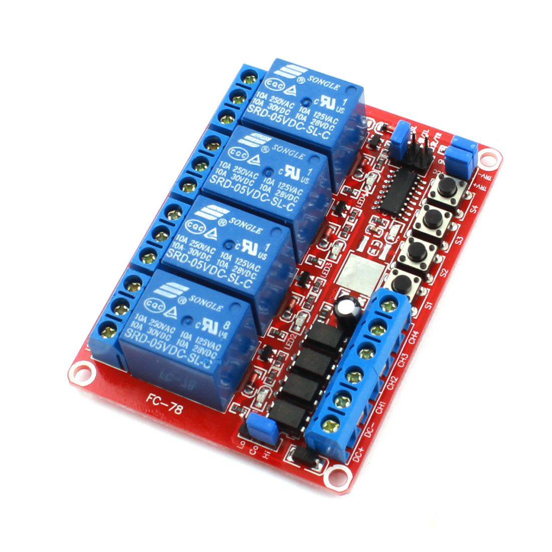 DIY Red 4-Channel Self-locking Trigger Relay Expansion Circuit Board Module DC 5V