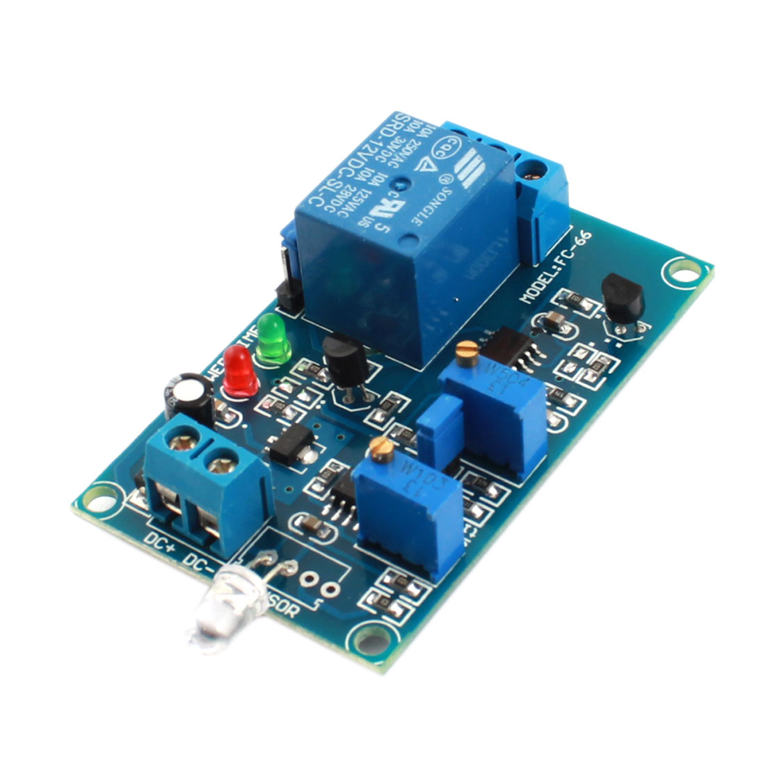 FC-66 DC 12V 1-CH Photosensitive Detection Sensor Time Delay Relay PCB Circuit Module Green
