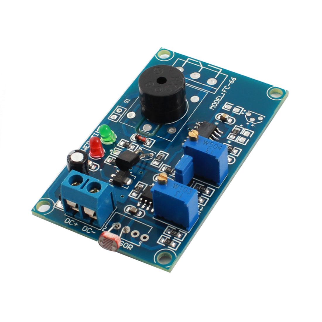 DC12V 2-LED Lamp 20s Light Trigger Photovaristor Time Delay Alarm Buzzer PCB Board Module