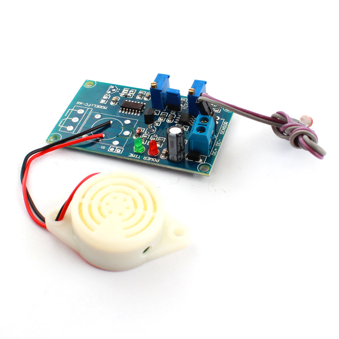 FC-66 DC 24V Photoswitch Light Detection Photoresistor Sensor Alarm Buzzer Time Delay PCB Circuit Module Green