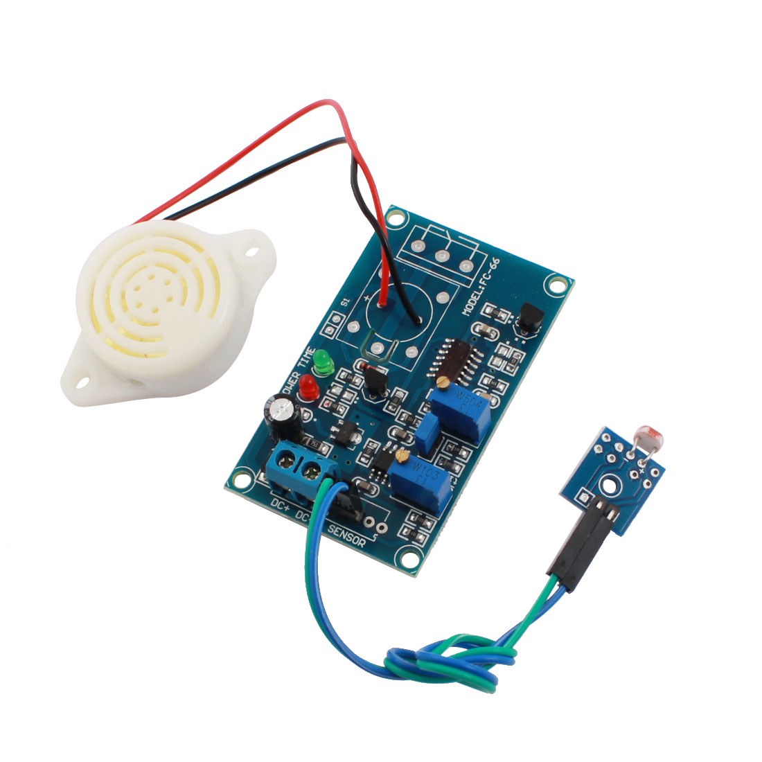 FC-66 DC24V No Light Trigger Photoresistor Detection Sensor Alarm Delay PCB Circuit Module w Piezo Buzzer