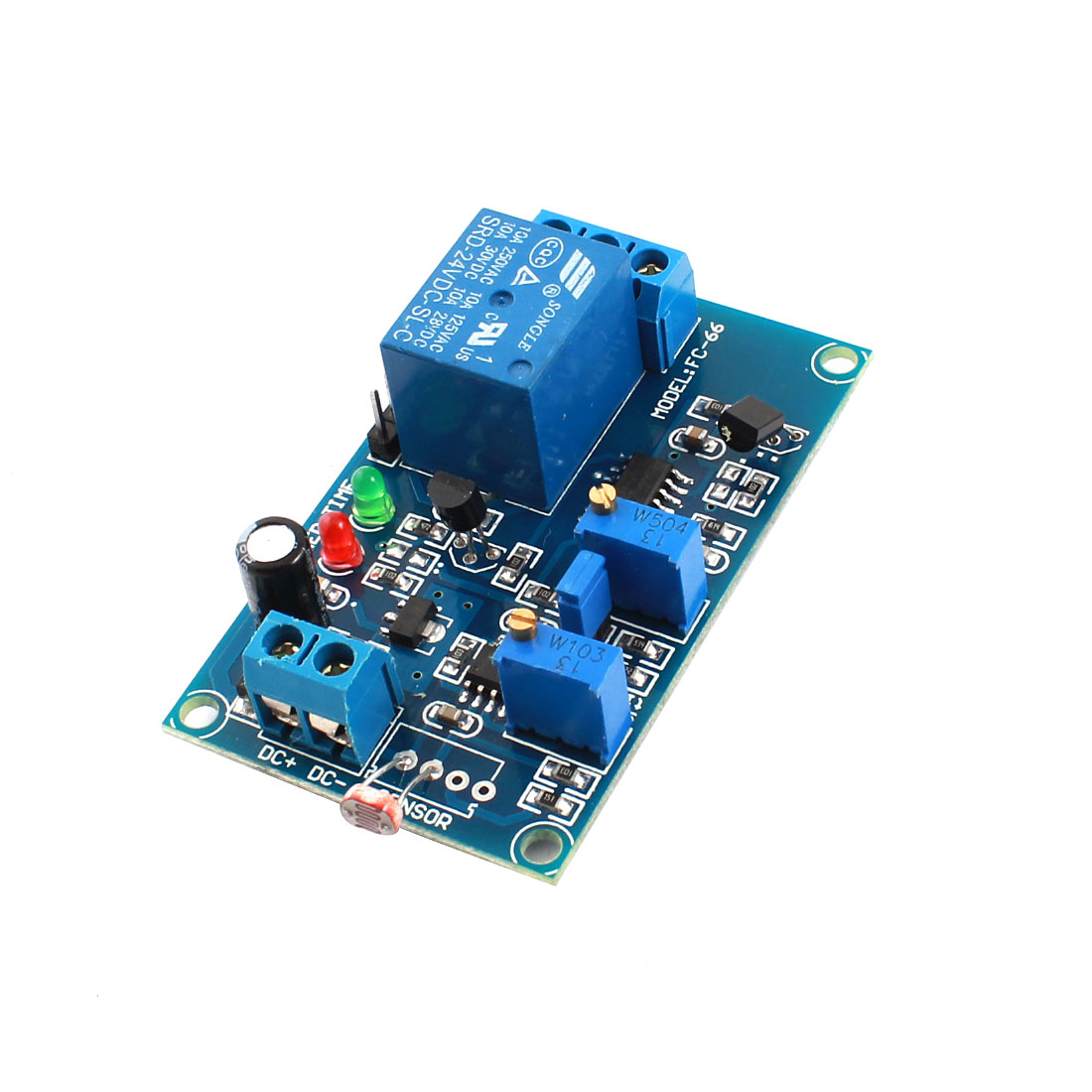 DC24V 2-LED Lamp 1CH Photovaristor Diode Non-light Operation Time Delay PCB Board Relay Module