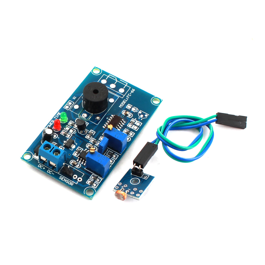 DC12V 0-20S Adjustable Time Light Trigged Photoresistor Sensor Optical Delay Alarm Buzzer PCB Module