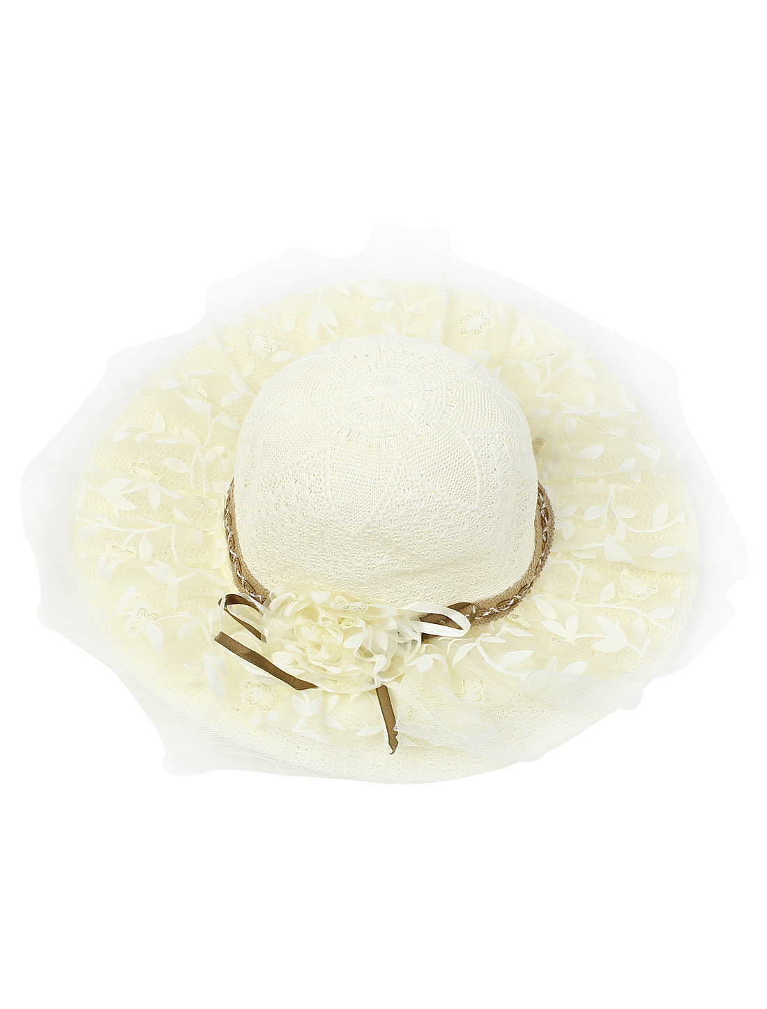 Beige Lace Embellished Floral Detailing Beach Bucket Straw Hat Cap for Women